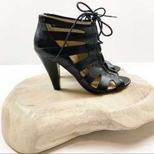 BCBG Black Lace Up Caged Heels Size 8